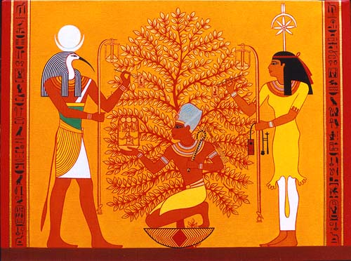 Thoth and Seshat  record the king's jubilees.